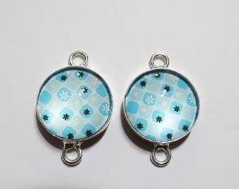 Set of 2, Blue Snowflake Glass Connector Links, Sterling Silver Jewelry Connector Link Components, 26x17mm, Pair Earring Connector Component