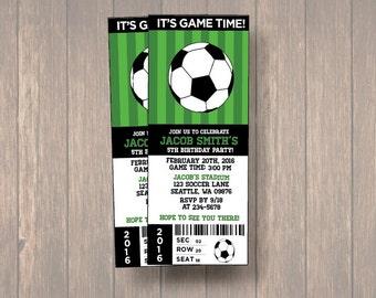 Digital Birthday Party Invitations, Soccer Birthday Ticket, Birthday Invitation, Soccer Ticket, Ticket Birthday Invitation