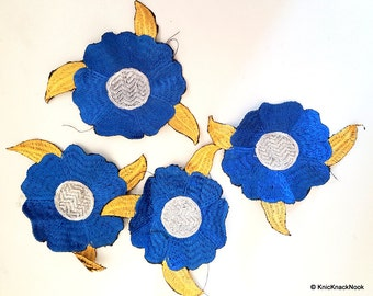Blue And Silver Flower With Gold Leaves Embroidered Patch x 2 - 170216L11