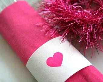 Heart Paper Napkin Wraps - Heart Napkin Rings - Wedding Shower Napkin Wraps - Heart Party Decorations