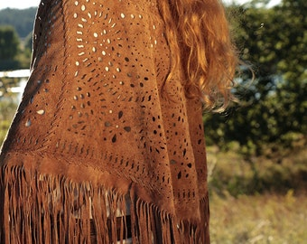 Boho shawl with fringe made of soft brown suede