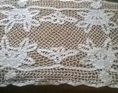 Art Filet Lace Runner French Antique White Cotton Handmade Lace Runner