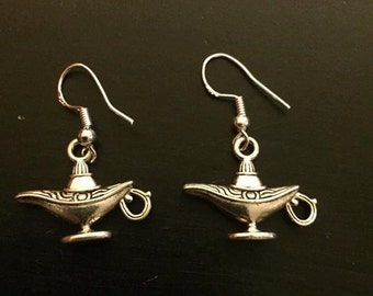 Magic Lamp Earrings Genie Aladdin Apu Jasmine Nickel Free Hooks