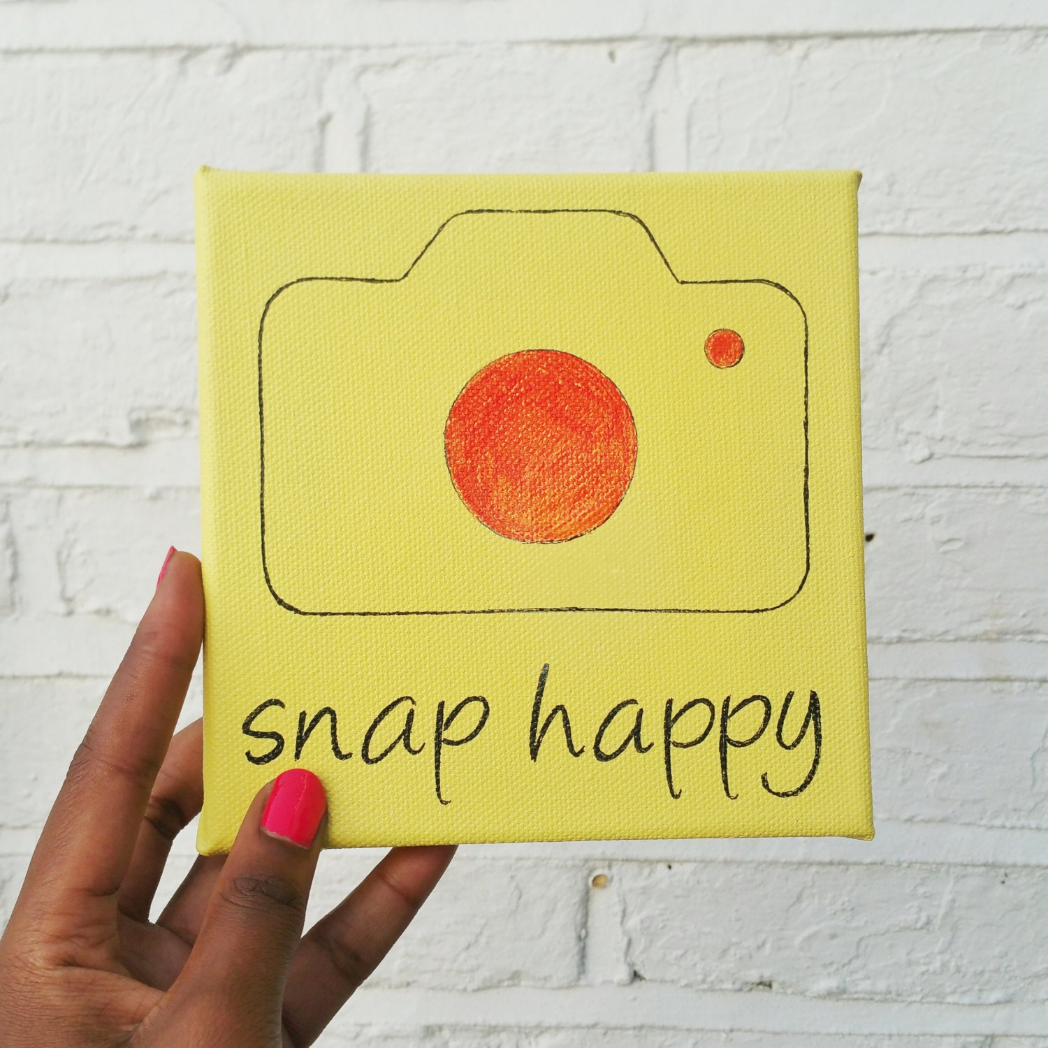 Snap Happy Canvas Wall Art - Camera Wall Art - Yellow Canvas ...
