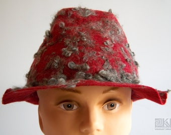 Red fedora hat, hand felted hat, sustainable fashion, wet felted hat, Red bowler hat, Red derby hat, Red and Grey hat, Merino wool hat