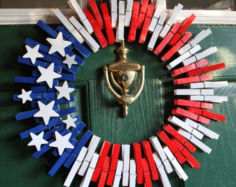 4th july wreath patriotic wreath fourth of july wreath american flag wreath - Americana Home Decor
