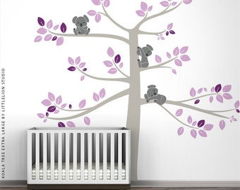 Lavender Wall Decal Koala Tree Extra Large by LittleLion Studio