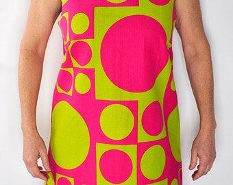 Lime and Fuchsia shift dress 70's Shift Dress size 12