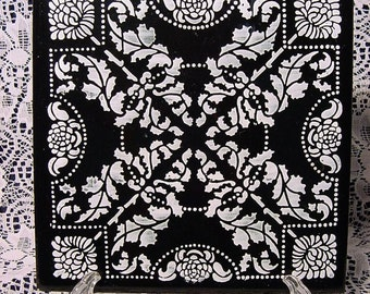 Black and White Tile Trivet Spanish Made in Spain Cork Backing Collectible