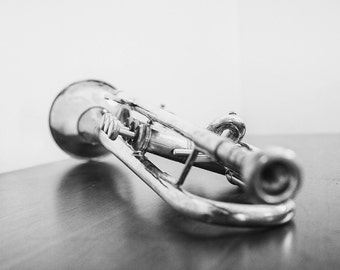 Trumpet Fine Art Photography, Black and White Photography, Music Room Decor, Brass Instrument, Musical Decor, Silver, Gift for Musician