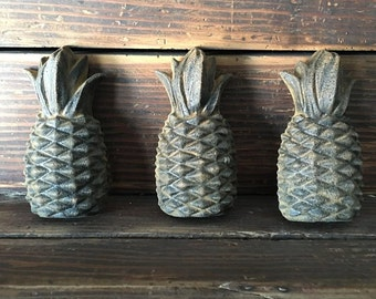 Set of 3 Blackened Beeswax Pineapples