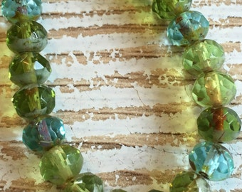 7x5 green mix rondelle czech beads, blue and green faceted rondelles