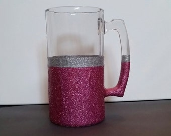 Pink and Silver Glitter 28 ounce Beer Mug, 21st Birthday Mug, Birthday Mug, Graduation Mug, Beer Mug