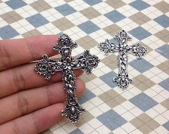 6PCS Antique Silver Cross Pendant Charm 49mmx65mm