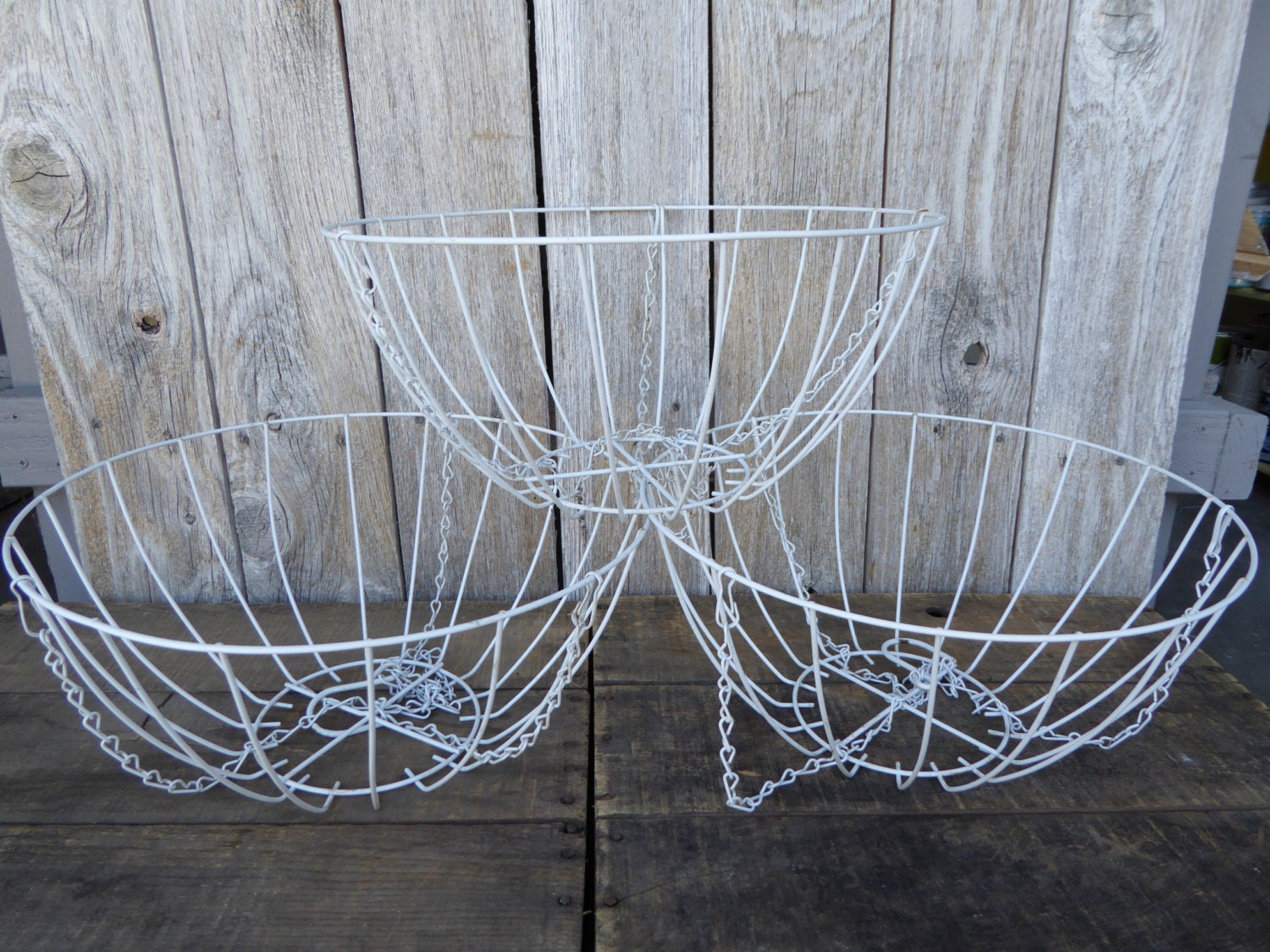 Metal Flower Hanging Baskets : Large white metal wire hanging basket flower fruit