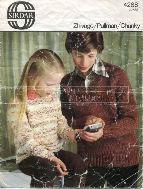 "Children's Sweater 22-32"" Chunky Sirdar 4288 Vintage Knitting Pattern PDF instant download"