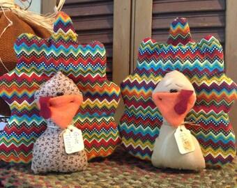 Set of Two Primtive Thanksgiving Turkey Bird Ornie, Tucks or Bowl Fillers