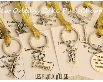 12 pcs New Orleans Wedding Cake Pull Charms - Deluxe Metallic Ribbons Gold or Silver (CP02)