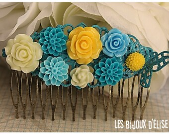 Yellow and Turquoise Flower Hair Comb Wedding Cimb Bridal Comb Bridesmaid Comb Art Nouveau Style (HC25)