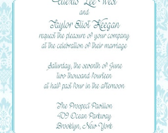 Elegant Damask Wedding Invitation