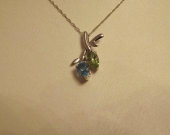 10k White Gold Vintage Green & Blue Topaz Leaf Pendant Necklace-On Sale Now!