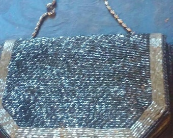 Vintage black and grey beadedbdrquinned evening bad shoulder strap or clutch