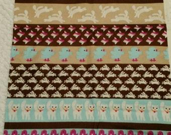 Vintage Lightweight Knit Border ~ Bunny Birds Cats ~ Brown Magenta Blue Polyester