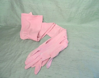 AS IS extra long, pale pink opera gloves / vintage  rayon  size 6  / 26 inch