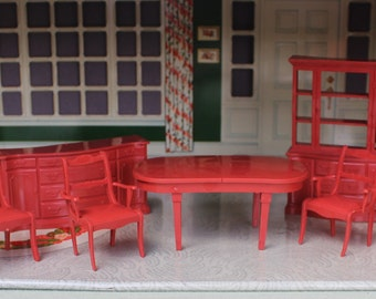 Marx  plastic dollhouse furniture, Marxie Mansion dining room, Tin litho dollhouse miniature