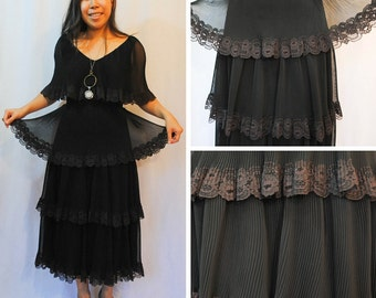 Black Lace Dress - Black Tiered Dress Lace Tiered Dress Romantic Black Dress Vintage Tiered Dress Vintage Lace Dress Vintage Black Dress