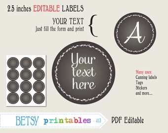 Chalkboard tags, 2.5 inches circles, Editable labels or tags, printable canning labels, PDF labels or tags - INSTANT DOWNLOAD  413