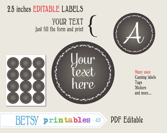 Chalkboard tags 25 inches circles editable labels or tags for 5 inch round labels