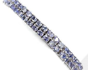 11.60ctw Tanzanite Double Row Oval Sterling Silver Bracelet 7.5 inch