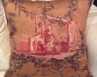 20in linen and silk toile pillow cover