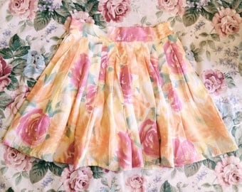 Vintage Floral Print Pleated High Waist Skirt