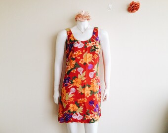 Vintage Red Floral Sleeveless Mini Dress