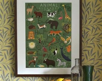 Animal Alphabet Poster Print A3 A2 A1 Childrens A-z Art Deco 1940's Vintage Illustration Elephant Monkey Lion Koala Zebra Flamingo Giraffe