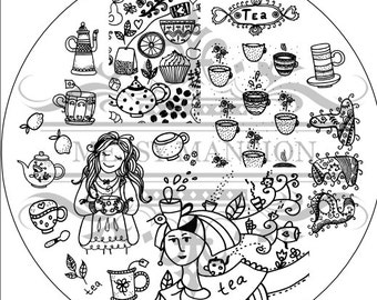 Nail Art Stamping Image Plate MM62 -  Tea Time Themed