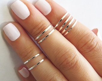8 Above the Knuckle Rings - Silver stacking ring, Knuckle Ring, Thin silver shiny bands, Midi rings, Silver accessories, Birthday gifts