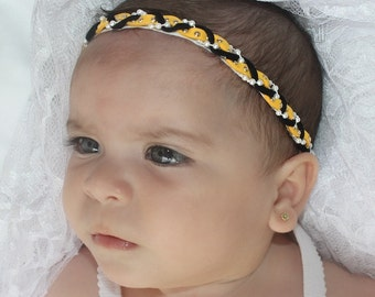 Braided Headband, Yellow Headband, Halo Headband, Baby Headband, Toddler Headband, Girl Headband, Suede Headband