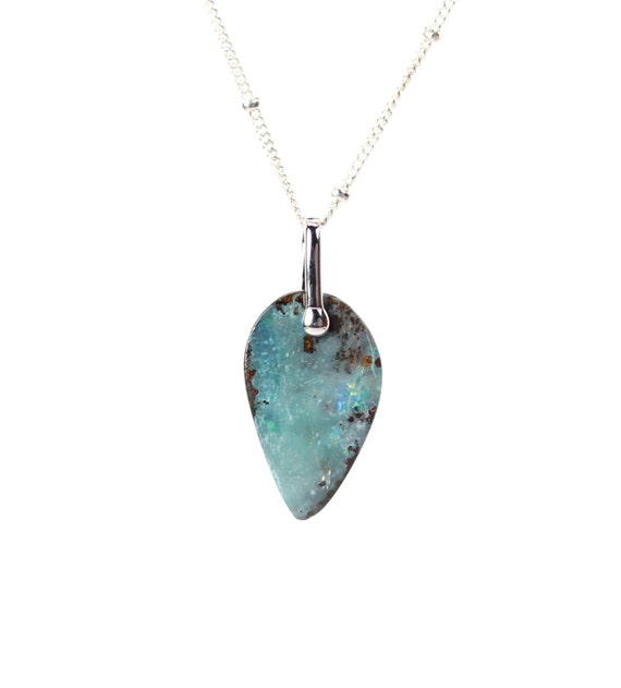 Boulder opal necklace, fine jewelry, opal silver necklace, fire opal, australian opal, a boulder opal on a stelring silver chain