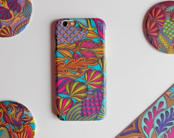 Turquoise iPhone6 Case, Colourful iPhone Case, Plastic Phone Case, Tropical Print Accessory,