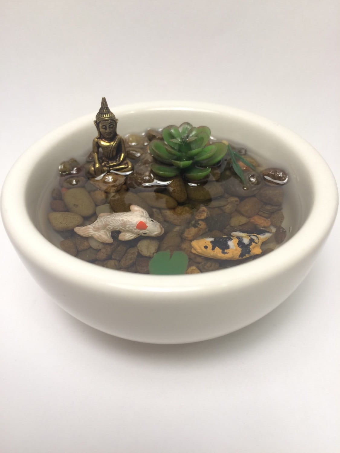 Resin koi fish pond with miniature bronze buddha in pure white for Resin koi fish