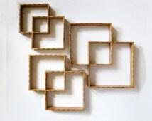 Vintage Wood Curio Shelves - 6 Interlocking Square Shelves - Graduated Size Wood Display Shelf - Wood Wall Decor - Mid Century Home Decor