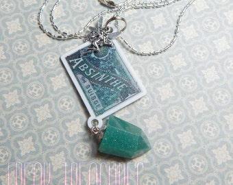 Absinthe label necklace glow in the dark resin crystal, la fee verte victorian vintage steampunk, the green fairy