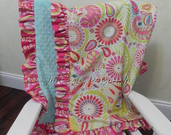 Baby Blanket with Ruffle - Kumari Gardens with Aqua Minky Dot