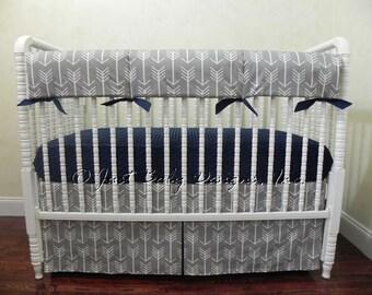 Gray Arrow Baby Bedding Set - Boy Baby Bedding, Tribal Baby Bedding, Arrow Crib Bedding, Navy Baby Bedding, Crib Rail Cover
