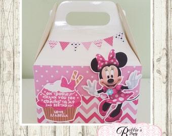 Minnie Mouse party favor box, Minnie Mouse gable box, 10 Minnie Mouse party favor gable box, Minnie Mouse favor box