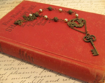 Bronze Key and Vintage Keyhole Necklace ***FREE SHIPPING***