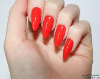 Stiletto nails, Orange stiletto nails, Fake nails, Press on nails, False nails, Stiletto false nails, Press on stiletto nails